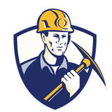 Coal Miner With Pick Axe Shield Retro Royalty Free Stock Photography