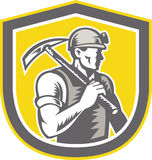Coal Miner Pick Axe Shield Retro Royalty Free Stock Photography