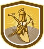 Coal Miner Pick Axe Shovel Lamp Shield Retro Royalty Free Stock Photo