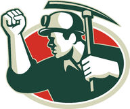 Free Coal Miner Pump Fist With Pick Ax Retro Royalty Free Stock Photo - 49141815