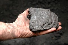 Coal in miner's hand Royalty Free Stock Image