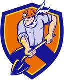 Coal Miner Shovel Digging Shield Retro Stock Images