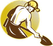 Coal Miner With Shovel Retro Woodcut Stock Photos