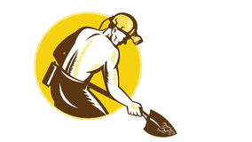 Coal Miner With Spade Shovel Retro stock footage