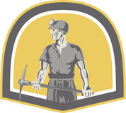 Coal Miner Standing Holding Pick Axe Shield Retro Royalty Free Stock Images
