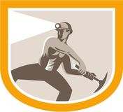 Coal Miner Wielding Pick Axe Shield Retro Royalty Free Stock Images