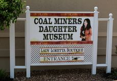 Coal Miners Daughter Museum Welcome Sign, Hurricane Mills Tennessee Stock Image