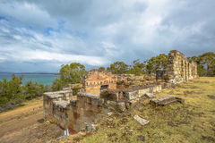 Coal Mines Ruins Tasmania. Overview of  Mines Historic Site c.1833, Saltwater River, Tasmanian Peninsula, Tasmania, Australia. Today, you may visit the Royalty Free Stock Images
