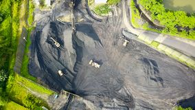 Coal Mining Aeral Borneo Indonesia Stock Photo