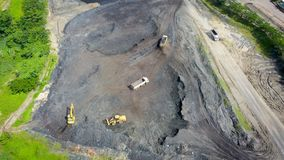 Coal Mining Aerial Borneo Indonesia royalty free stock images