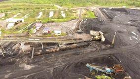 Coal Mining Aerial Borneo Indonesia stock footage