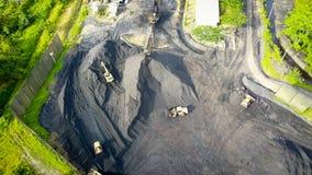 Coal Mining Aerial Borneo Indonesia stock photo