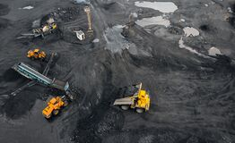 Free Coal Mining An Open Pit Extractive Industry, Top View Aerial Royalty Free Stock Photography - 194859557