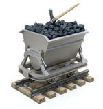 Coal in the mining cart. Coal and pick axe in the mining cart on white background - 3D illustration Stock Images