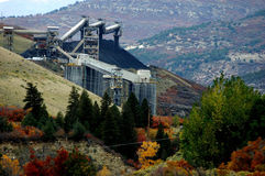 Coal mining country. Industrial landscape of coal mining infrastructure in autumn Royalty Free Stock Photography