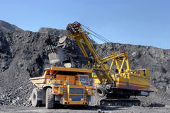 Coal mining. The dredge loads the truck coal. Royalty Free Stock Photos