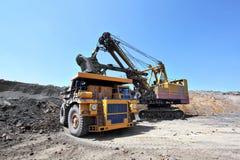 Coal mining. The dredge loads the truck coal. Stock Image