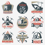 Coal Mining Emblems Set. Set of nine isolated vintage mining industry with professional equipment and technics twinbill coal pick symbols vector illustration Stock Photo