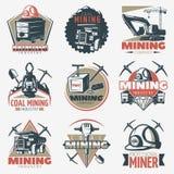 Coal Mining Emblems Set Stock Photo
