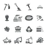 Coal mining equipment black icons set Royalty Free Stock Photography