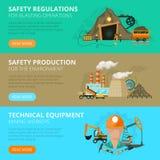 Coal mining 3 flat interactive banners Stock Photos