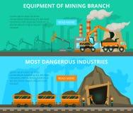 Coal mining 2 flat interactive banners Stock Photos