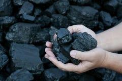 Coal mining  hands holding sunlit coal stone part. Coal mining - hands holding sunlit dark coal stone part. Concept coal mining, coal processing, energy Stock Photos