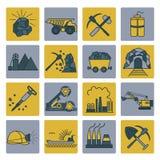 Coal mining icon set. Colour version design Royalty Free Stock Image