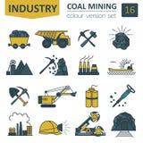 Coal mining icon set. Colour version design Stock Photo
