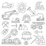 Coal mining icon set. Thin line icon design Royalty Free Stock Photos