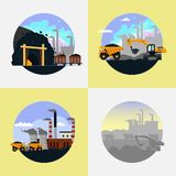 Coal mining industry set vector flat illustration. Coal mining set. Vector flat illustration. Mining industry icons with machinery, equipment and industrial stock illustration