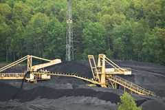 Coal mining. Loader in open-cast mine Royalty Free Stock Image