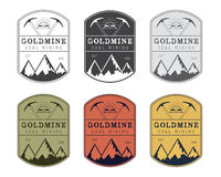 Coal mining logo badge in vintage style. Different colors. Stock Images