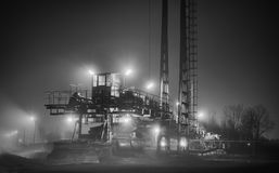 Coal mining machinery night Royalty Free Stock Photo