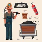 Coal mining. Miner character and tools. Cartoon vector illustration Stock Photo