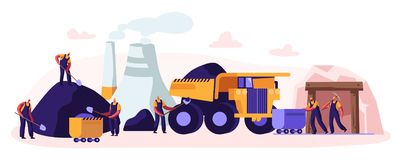 Coal Mining. Miner Characters Working on Quarry with Tools, Transport and Technique. Extraction Industry. Work Equipment. Transportation Infographics Technics vector illustration