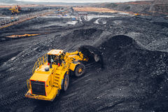 Coal mining at an open pit Stock Photo