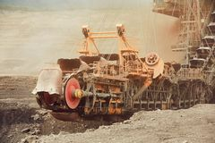 Coal mining in an open pit Stock Images