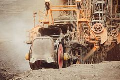 Coal mining in an open pit Royalty Free Stock Images