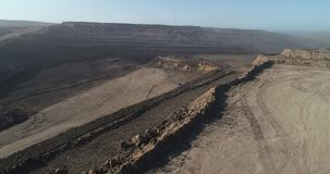 Coal mining Russia. Coal mining open pit Russia aerial view landscape stock footage