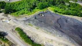 Coal Mining Aerial Borneo Indonesia royalty free stock image