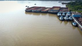 Coal Shipping transportation cargo Aerial Borneo Indonesiaa royalty free stock photo