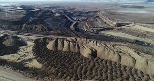 Coal mining russia. Coal mining open pit russia aerial view landscape stock video