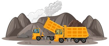Free Coal Mining Scene With Construction Trucks Stock Images - 217046864