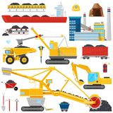 Coal mining vector industrial equipment or machinery to mine fuel coal dust illustration set of heavy excavator or truck. For fossil extraction or Stock Photography
