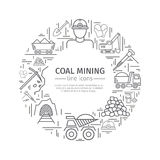 Coal mining web banner. Royalty Free Stock Images