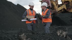Coal mining worker open pit. Industry quarry miner stock footage