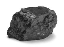 Coal Piece. Single Piece of Black Coal Isolated on White Background royalty free stock image