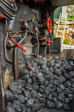 Coal pile in steam locomotive Royalty Free Stock Photo