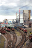 Coal plant. With cargo coal trains Royalty Free Stock Photos